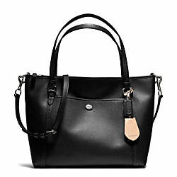 COACH PEYTON LEATHER POCKET TOTE - SILVER/BLACK - F25667