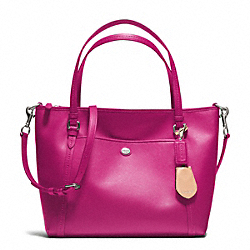 PEYTON LEATHER POCKET TOTE - f25667 - SILVER/BRIGHT MAGENTA