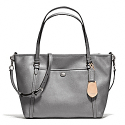 COACH PEYTON LEATHER POCKET TOTE - SILVER/PEWTER - F25667