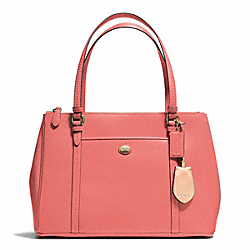 PEYTON LEATHER JORDAN DOUBLE ZIP CARRYALL - BRASS/CORAL - COACH F25669