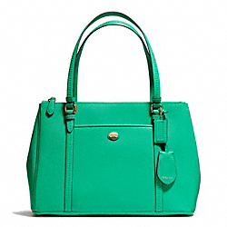COACH PEYTON JORDAN DOUBLE ZIP CARRYALL IN LEATHER - BRASS/JADE - F25669