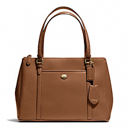 COACH PEYTON LEATHER JORDAN DOUBLE ZIP CARRYALL - BRASS/SADDLE - F25669