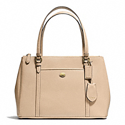 COACH PEYTON LEATHER JORDAN DOUBLE ZIP CARRYALL - BRASS/SAND - F25669