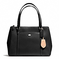 PEYTON LEATHER JORDAN DOUBLE ZIP CARRYALL - f25669 - SILVER/BLACK