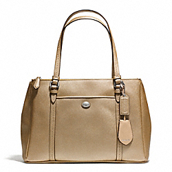 PEYTON LEATHER JORDAN DOUBLE ZIP CARRYALL - f25669 - SILVER/GOLD