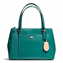 COACH PEYTON LEATHER JORDAN DOUBLE ZIP CARRYALL - SILVER/JADE - F25669
