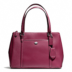 COACH PEYTON LEATHER JORDAN DOUBLE ZIP CARRYALL - SILVER/MERLOT - F25669
