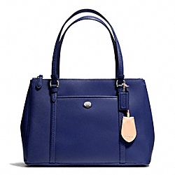 PEYTON LEATHER JORDAN DOUBLE ZIP CARRYALL - SILVER/NAVY - COACH F25669