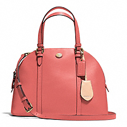 PEYTON LEATHER CORA DOMED SATCHEL - BRASS/CORAL - COACH F25671