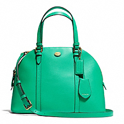 COACH PEYTON CORA DOMED SATCHEL IN LEATHER - BRASS/JADE - F25671