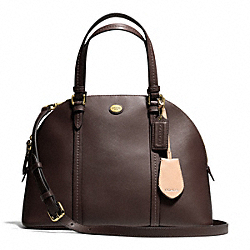 COACH PEYTON LEATHER CORA DOMED SATCHEL - BRASS/MAHOGANY - F25671