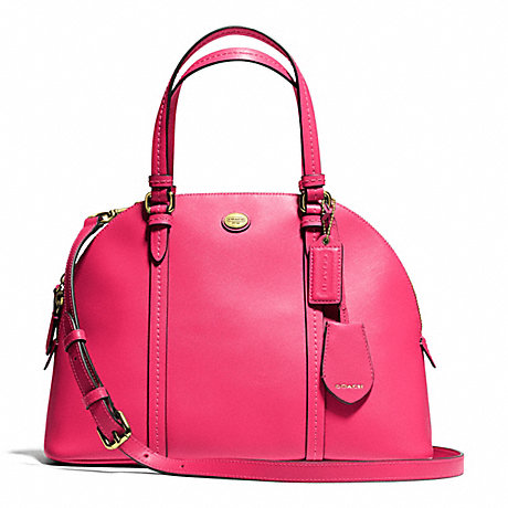 COACH f25671 PEYTON CORA DOMED SATCHEL IN LEATHER BRASS/POMEGRANATE
