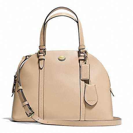 COACH f25671 PEYTON LEATHER CORA DOMED SATCHEL BRASS/SAND