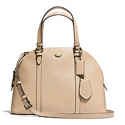 COACH PEYTON LEATHER CORA DOMED SATCHEL - BRASS/SAND - F25671