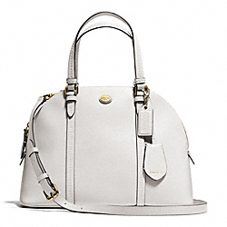PEYTON LEATHER CORA DOMED SATCHEL - BRASS/WHITE - COACH F25671