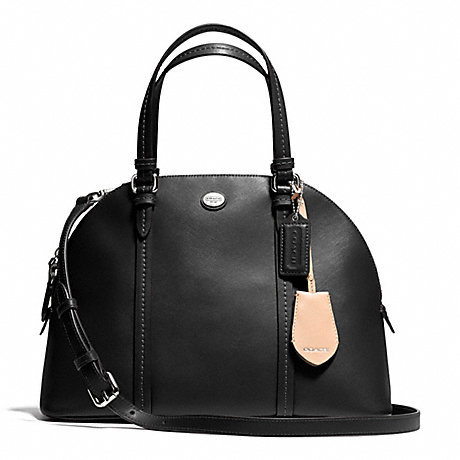 COACH f25671 PEYTON LEATHER CORA DOMED SATCHEL SILVER/BLACK