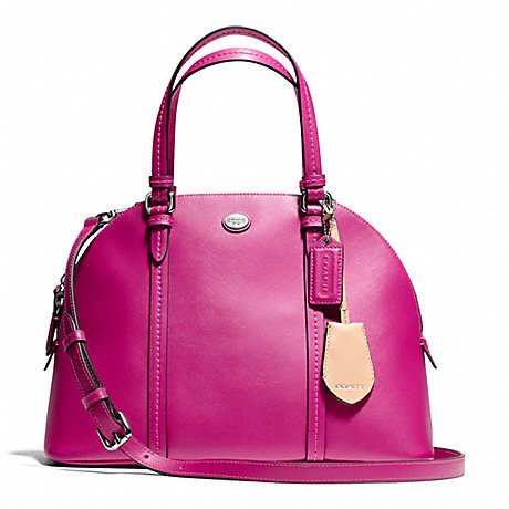 COACH f25671 PEYTON LEATHER CORA DOMED SATCHEL SILVER/BRIGHT MAGENTA