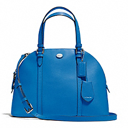COACH PEYTON LEATHER CORA DOMED SATCHEL - SILVER/CERULEAN - F25671