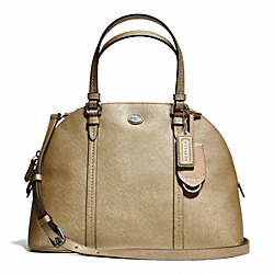 PEYTON LEATHER CORA DOMED SATCHEL - f25671 - SILVER/GOLD