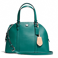 COACH PEYTON LEATHER CORA DOMED SATCHEL - SILVER/JADE - F25671