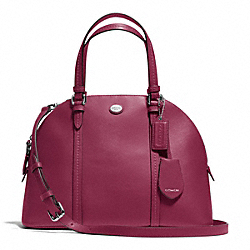 COACH PEYTON LEATHER CORA DOMED SATCHEL - SILVER/MERLOT - F25671