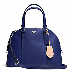 PEYTON LEATHER CORA DOMED SATCHEL - SILVER/NAVY - COACH F25671