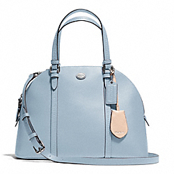 PEYTON LEATHER CORA DOMED SATCHEL - SILVER/SKY - COACH F25671
