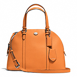 COACH PEYTON LEATHER CORA DOMED SATCHEL - SILVER/TANGERINE - F25671