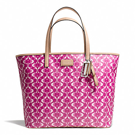 COACH f25673 PARK METRO DREAM C TOTE SILVER/BRIGHT MAGENTA/TAN