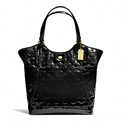 COACH PEYTON OP ART EMBOSSED PATENT TOTE - BRASS/BLACK - F25703