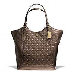 COACH PEYTON OP ART EMBOSSED PATENT TOTE - BRASS/BRONZE - F25703