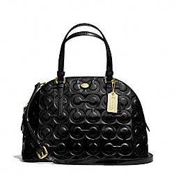 COACH PEYTON OP ART EMBOSSED PATENT CORA DOMED SATCHEL - BRASS/BLACK - F25705