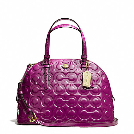 COACH f25705 PEYTON OP ART EMBOSSED PATENT CORA DOMED SATCHEL