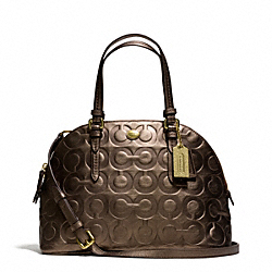 COACH PEYTON OP ART EMBOSSED PATENT CORA DOMED SATCHEL - BRASS/BRONZE - F25705