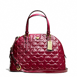 COACH PEYTON OP ART EMBOSSED PATENT CORA DOMED SATCHEL - BRASS/MERLOT - F25705