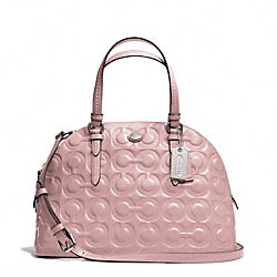 COACH PEYTON OP ART EMBOSSED PATENT CORA DOMED SATCHEL - SILVER/PINK TULLE - F25705