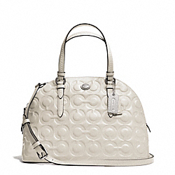 COACH PEYTON OP ART EMBOSSED PATENT CORA DOMED SATCHEL - SILVER/IVORY - F25705