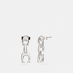 COACH SIGNATURE CHAIN DROP EARRINGS - SILVER - F25727