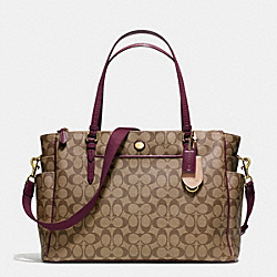COACH PEYTON SIGNATURE MULTIFUNCTION TOTE - IM/KHAKI/SHERRY - F25741