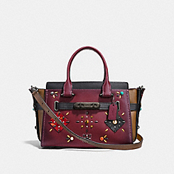 COACH SWAGGER 27 WITH COLORBLOCK PATCHWORK PRAIRIE RIVETS - WINE/BLACK COPPER - COACH F25744