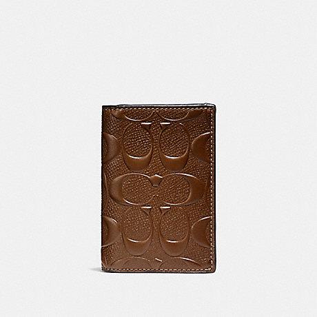 COACH f25752 BIFOLD CARD CASE IN SIGNATURE LEATHER SADDLE