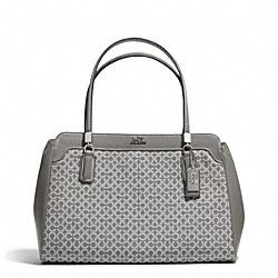 COACH MADISON OP ART NEEDLEPOINT KIMBERLY CARRYALL - SILVER/LIGHT GREY - F25781