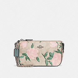 LARGE WRISTLET 19 WITH CAMO ROSE FLORAL PRINT - SILVER/LIGHT KHAKI BLUSH MULTI - COACH F25787