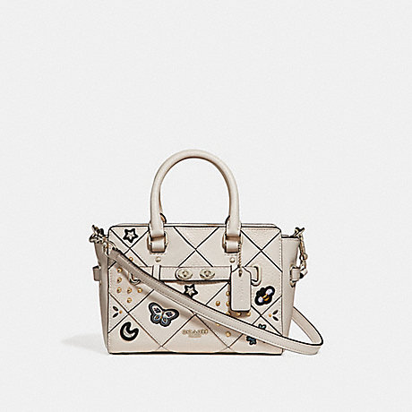 COACH f25791 MINI BLAKE CARRYALL WITH SOUVENIR EMBROIDERY PATCHWORK SILVER/CHALK