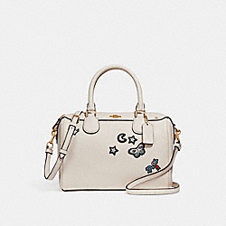 MINI BENNETT SATCHEL WITH SOUVENIR EMBROIDERY - CHALK/LIGHT GOLD - COACH F25799