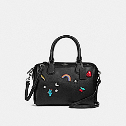 MINI BENNETT SATCHEL WITH SOUVENIR EMBROIDERY - SILVER/BLACK - COACH F25799