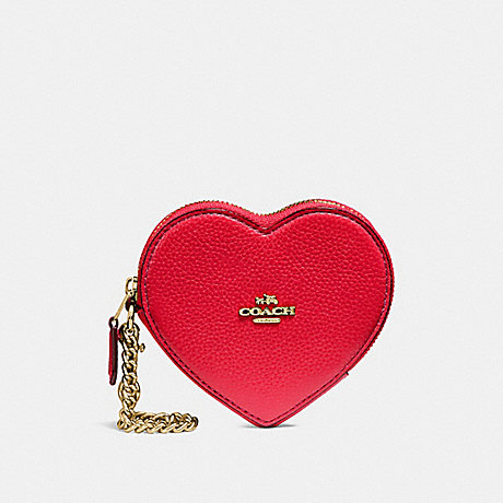 COACH HEART COIN CASE - TRUE RED/IMITATION GOLD - F25800
