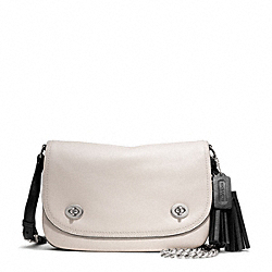 TWO TONE LEATHER DOUBLE GUSSET FLAP - SILVER/MUSHROOM/BLACK - COACH F25801