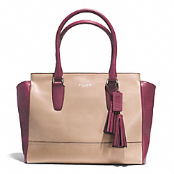 COACH LEGACY MEDIUM CANDACE CARRYALL IN TWO TONE LEATHER - SILVER/LIGHT KHAKI/DEEP PORT - F25802