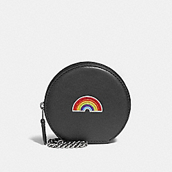ROUND COIN CASE WITH RAINBOW - MULTICOLOR 1/SILVER - COACH F25843
